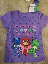 PJ MASKS- IT'S TIME TO BE A HERO T-Shirt by FROG BOX- Size 2T- Purple and Stars