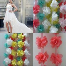 12x Flowers 3D Petals Chiffon Leaves Trim Wedding Dress Bridal Lace Fabric Doll