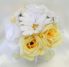 17 Pieces Package Silk Flower Wedding Decoration Bridal Bouquet YELLOW WHITE