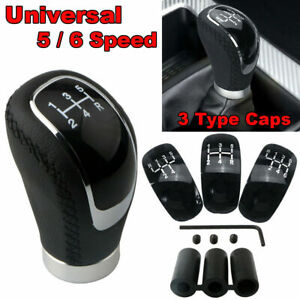 Black PU 5/6 Speed 3 Caps Car/Auto Gear Shift Lever Manual Knob Shifter Stick