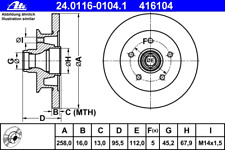Disque de Frein (2 Pièce ) - ATE 24.0116-0104.1