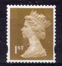 GB = QE2 era, Gold 1st NVI FORGERY. Print disturbance all over stamp. (a)