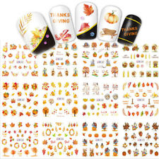 New 12Pcs/Sheet ThanksGiving Christmas Maple Leaf Nail Decal Manicure Decor DIY
