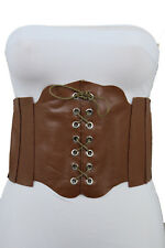 Sexy Women Corset Belt Light Brown Faux Leather Wide Stretch Fabric Plus M L XL