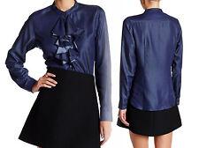 Nanette Lepore Cascading Ruffle Denim Shirt XSmall 0 2 Indigo Blue Chambray NWT