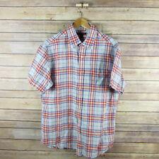 BANANA REPUBLIC Men's Short Sleeve Button Front Shirt L Large Blue Pink Plaid