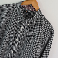 Para hombres Genuino Fred Perry Negro Gingham camisa de mangas largas XXL 2XL