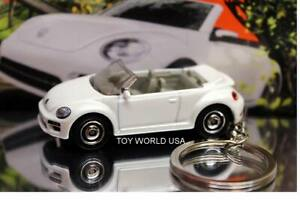 Custom Key Chain Classic '19 VW Volkswagen Beetle Convertible white