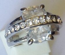 bague fianciaille couleur argent rhodié avec cristaux diamant  T49