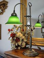 Tischlampe Lampe Jugendstil Antik Bankerlampe Schreibtischlampe Messing Grün NEU