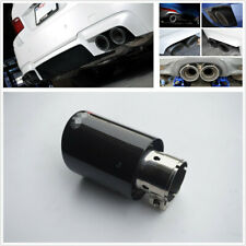 New Glossy Carbon Fiber+Steel Car Exhaust Clamp-on Tip 54MM Muffler Trim Cover