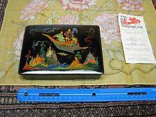 GENUINE RUSSIAN PALEKH LACQUER BOX - HANDMADE - MAGIC CARPET RIDE w/ MOON MINT!