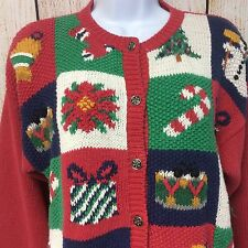 Christmas Sweater Size M Tree Snowman Gifts Button Up Ashley Knitted By Hand