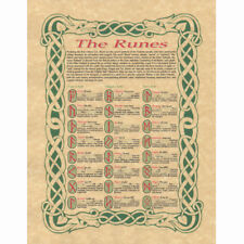 """Norse Runes Poster 8.5 x 11"""" Parchment Print NEW Reference Rune Study Sheet"""