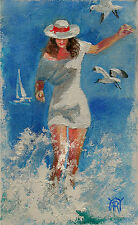 Beach Summer Girl White Hat Ocean Sea Waves Original Oil Painting Yary Dluhos