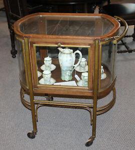Antique Oak & Brass Vitrine – Tea Cart – Rockhausen Label - German Made