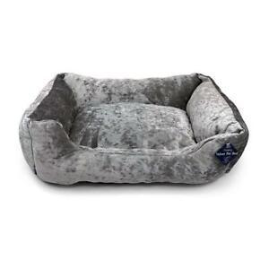 Silver Crushed Velvet Dog Bed Soft Washable Fleece Cushion Warm Plush Luxury Pet