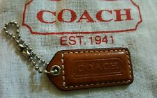 COACH SMALL HANGTAG BROWN LEATHER WITH TURQUOISE BACK