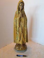"Vintage Virgin Mary Statue Chalkware Glass eyes 24""Tall 1943 Religious Icon USA"
