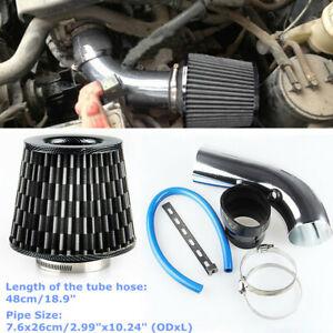 """Car Aluminum Alloy Air Intake Kit Pipe Diameter 3""""+ Cold Air Filter+Clamp + Hose"""