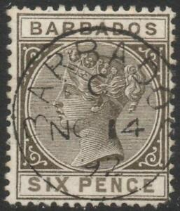 BARBADOS: 1886 - Sg 100 - 6d Olive-Black Good Used Example (38527)