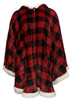 Warm & Cozy Hooded Zip-Front Angel Wrap With Sherpa Trim Red 715636