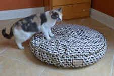 Armarkat Washable Cat Small Dog Pet Round Pillow Bed Mat Cat Print Tan