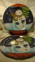 Set 4 Snowman Plates~Welcome To The North Pole~Santa's Workshop~Reindeer~Elf  18