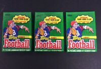 """Lot of 3 1991 Topps Unopened Cello Packs NFL w/Special """"1000 Yard Club """" Glossy"""