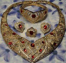 Dolly-Bijoux Fantaisie Parure 4PC Coeur Rubis et Diamant Cz Bague T54 signé FB