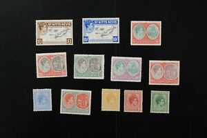 St. Kitts Nevis #79-90 1938 F/VF mint hinged KGVI set 10/- is MNH cv$58.65+ v073