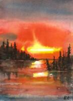 ACEO river glow sky sunset landscape original watercolor painting art card sign