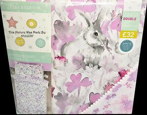 🐇 Next Bunny Animal Print Duvet Quilt Cover Pillowcase Bed Set Bedding Vtg Pom