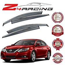 For 16-17 Nissan Altima 4 Door Sedan Only Chrome Trim Smoke Tinted Window Visor