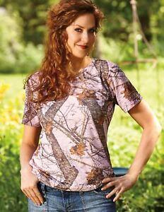 Mossy Oak Pink Camo Ladies Shirt, Camouflage Burnout T-Shirt