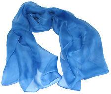 "Women's 100% Chiffon Silk Scarf / Light Blue / Solid / 70"" X 26"""