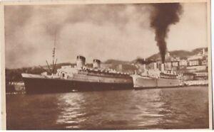 GENOVA CARTOLINA DUE NAVI IN MOVIMENTO NEL PORTO RIGHI PELOSO 1938 non viaggiata