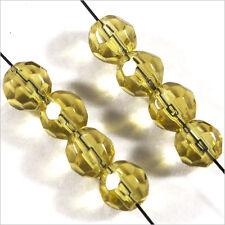 Lot de 20 perles à FACETTES 6mm en Cristal de Bohème Jaune