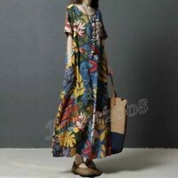 Summer Womens Cotton Linen Loose Casual Floral Boho Maxi Long Dress Oversize HOT