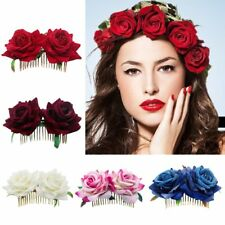 Flower Hair Comb Bridesmaid Hair Jewelry Red Rose Hairpin Wedding Accessories