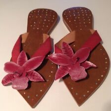🍀Lds Sz 41/9 Red Leather Handmade Thongs Slides With Flower Detail  Pointed Toe