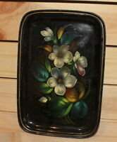 Vintage Russian hand painted floral metal tole serving tray