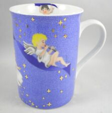 "New listing Coffee Mug Cup Angel Clouds Gold Stars by Teddi Porcelain Vintage 4"" Tall"