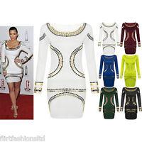 Womens Gold Foil Mini Dress Celebrity KARDASHIAN Bodycon Tunic Short Midi Classy