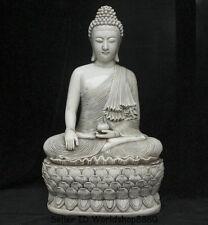 "19.6"" Old Tibet Buddhism Dehua White Porcelain Shakyamuni Amitabha Buddha Statue"