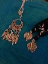 sterling silver chain tibet feather/head black bead pendant/earring dreamcatcher