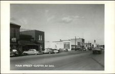 Custer SD Main St. Cars Stores Real Photo Postcard