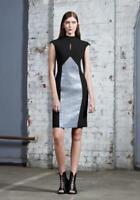 WILLOW (KITX) Black Silver Beige Coated Tweed Panel Pencil Dress AU8