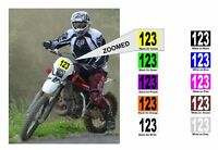 """Race Numbers For Motorbike Motocross Race Cars 5"""" Tall Black or White On Colour"""