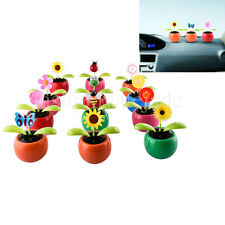 Solar Powered Flip Flap Dancing Flower For Car Swing Dancing Flower Toy Gift New